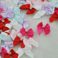 50pcs Mini Satin Ribbon Flowers W/Beads Bows Gift Craft Wedding Decoration B81