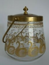 ANTIQUE JAR COOKIE ART GLASS CRYSTAL ST LOUIS FRANCE PATTERN LIBERTY GOLD