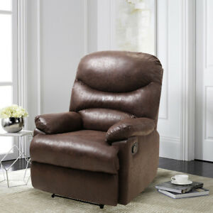 Distressed Leather Tan Vintage Recliner Armchair Sleeper Lounge Sofa Chair Seat