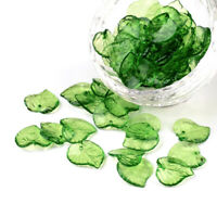 100Pcs/Lot Transparent Green Acrylic Leaf Charms Pendants DIY Jewelry Find_SU
