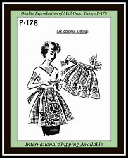 Vintage GINGHAM EMBROIDERED APRON Rose Pansy MO Fabric Sewing Pattern #P-178