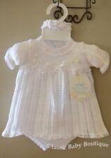 NWT Will'beth White Knit Ribbon Girls Dress 3pc Set Preemie Headband & Bloomers