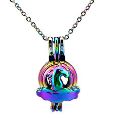 C773 Mini Rainbow Color Pony Beads Cage Locket Necklace- Girl Kid Gift Charms
