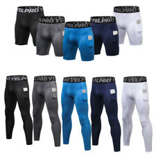 Men's Compression Pants Workout Running Training Gym Shorts with Pocket Bottoms