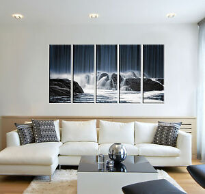 Black and White Waterfall Photo Print on Canvas 5 Panel Wall Art