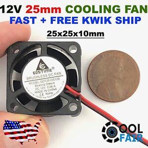 12V 25mm Mini Cooling Fan 2510 25x25x10mm 2-pin DC Small Micro Cooler