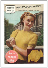 1940s Twin Set in Two Stitches Knitting Pattern Copy