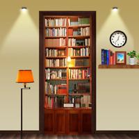 3D Retro Bookcase Self Adhesive Bedroom Door Stickers Removable Wall Murals