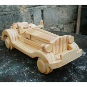 Wooden Classic Car Vintage Model Collectible Handmade Carved Decorative Gift
