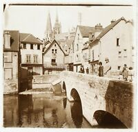 Chartres Francia Foto Stereo PL46Th5n Placca Da Lente Vintage