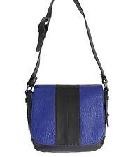 NWT $300 C'N'C COSTUME NATIONAL Black Blue Leather Shoulder Flap Bag Purse Hobo