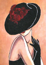 "ACEO Original Painting Collectible Art Card ""Woman in Black Hat"""