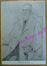 Document gravure Portrait Anatole France Jean Launois mine de plomb   1924