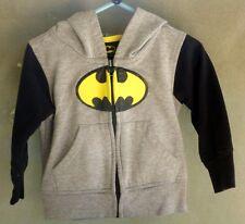 Boy's Batman Zipper Sweatshirt Jacket, Size 24 Months Gray/Black VG Condition