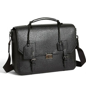 NWT 100% AUTH Burberry Grifford Black Grain Leather Messenger Bag