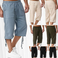 Men Summer 3/4 Calf Length Linen Work Shorts Pants Trouser Sweatpants Drawstring