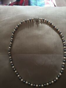 Costume Cream & Silver Grey 5mm Pearl Necklace with Silver Coloured Clasp