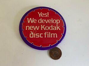 "Yes! We develop new Kodak disc film Kodak film 3"" Promo Pin Button prop Vintage"