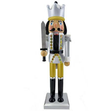 """Nutcracker Figure King Black and Silver With Multicolor Rhinestone Details 15"""""""