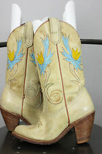 Miss Capezio boots 6.5 M cowboy cowgirl western floral yellow leather stack heel