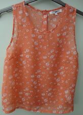 New Ex New Look Peach Ditsy Floral Print Blouse Top Size 10
