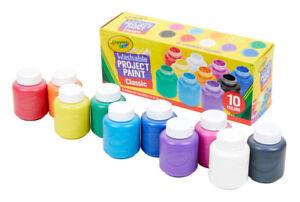 Crayola Washable Kids' Paint Classic Colors Set Of 10 Bottles  2oz 54-1205  NEW