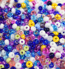 "Czech Glass Seed Beads Size 6/0-8/0 "" ASSORTED MEDLY CARNIVAL "" Loose 50 Grams"