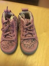 Girls Clarks Pink Suede Lace Up/Zip Ankle Boots size UK 4F