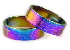 Biblia inglés De Hombre Anillo Banda religiosa de oración Señores 8 mm Ancho Arco Iris 316 ss Reino Unido R