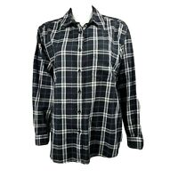 CHARTER CLUB Black White Plaid Button Front Cotton Shirt Womens Plus Size 1X
