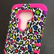LG G5 - HARD&SOFT RUBBER HYBRID ARMOR PHONE CASE COVER PINK LEOPARD KICKSTAND