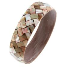 "Sale! 8"" Lusterous Brownlip Oyster Mother Of Pearl Shell Mosaic Bangle bracelet"
