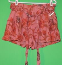 NWOT Free People Womens Size M Medium Coral Floral Linen / Rayon Casual Shorts