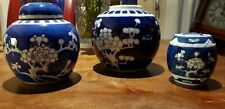3x Chinese Antique Prunus Blossom Ginger Jar Blue White Marked Double Ring