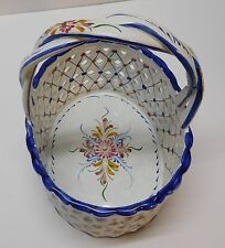 Portuguese Portugal Pottery Basket Candy Hand Painted Flowers