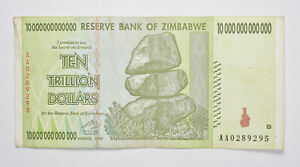 RARE 2008 10 TRILLION Dollar - Zimbabwe Note - 100/50 Series *342