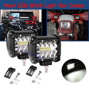 2pcs 200W 4inch LED Work Light Bar Pods Flood Spot Combo Driving Lamp 12V New
