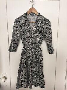 Ann Taylor Paisley Print 3/4 Sleeve Shirt Collar Hamptons Dress Sz 2P Cute Dress