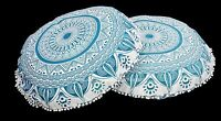 Pom Lace Floor Pillow Indian Ombre Mandala Printed Cotton Throw Cushion Pouf 2PC