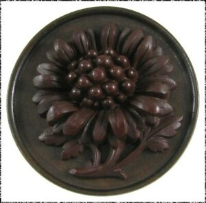 Large Antique Wood Button w/ Highly Detailed Gutta Percha Chrysanthemum