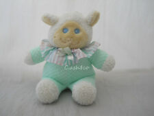 Vintage Baby Lamb aqua colored thermal with clown collar stitched eyes rattle