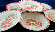 Mayfair & Jackson Rimmed Soup Bowl x 6 Poinsettia Pattern 9in Christmas M&J
