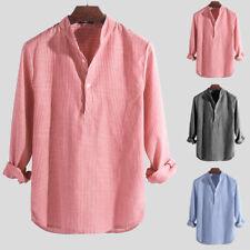 Mens Casual Shirts Dress Shirts Striped Henley Collar V-neck T-Shirt Button Tops