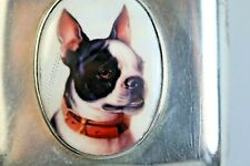 More details for boston terrier silver hallmarked  antique vesta case enamel 1909 large