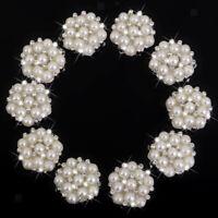 10x 22mm Boutons de Nacre Cristal Diamant Perle Pétales beige Pour Costume