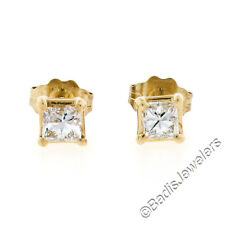 NEW Solid 14K Yellow Gold .52ctw G SI Princess Cut Diamond Classic Stud Earrings