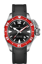 New Hamilton Khaki Navy Frogman Auto Black Dial Rubber Band Men Watch H77725335