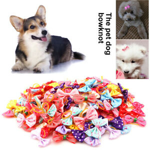 30X Dog Pet Cat Hair Bows Rubber Band Puppy Headdress Grooming Accessories