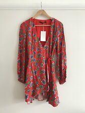 ZARA Red Floral Crossover Wrap Jumpsuit Playsuit Dress M
