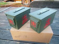 2..MILITARY SURPLUS . 50 CAL AMMO CANS TOOL BOX HUNTING TENT STAKES FIRST AID US